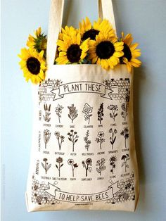 Plant These to Help Save Bees Eco-Friendly Tote Bag / save the bees / pollinator preservation / environmental awareness Pflanzen Sie diese zu helfen sparen Bienen von HannahRosengren Recycled Bottles, Save The Bees, Bee Keeping, Belle Photo, Bag Making, Screen Printing, Flower Power, Patterns, Prints
