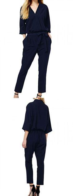 Dark Blue V-neck Tie Waist Three-quarter Sleeve Jumpsuits