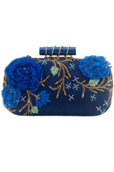 Clutch with Blue Roses