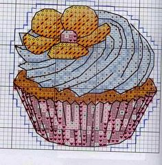 Needlepoint Patterns, Embroidery Patterns, Crochet Patterns, Cross Stitch Designs, Cross Stitch Patterns, Cupcake, Stitch 2, Pixel Art, Diy Gifts