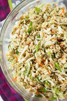 This ridiculously amazing Asian ramen salad will have you and your guests going back for thirds and fourths. Everyone will be asking for the recipe! I make mine with the ramen seasoning packets in the dressing. Asian Ramen Salad, Asian Slaw With Ramen Noodles, Ramen Oriental Salad, Ramen Cabbage Salad, Asian Salads, Oriental Coleslaw Salad Recipe, Recipes With Chicken Ramen Noodles, Low Carb Asian Salad, Japanese Cabbage Salad