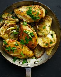 Sautéed chicken with fennel and rosemary