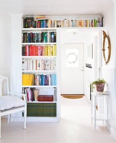 While I like the over-the-door-bookcase, don't people know at this point that it's immoral to organize books by COLOR?!