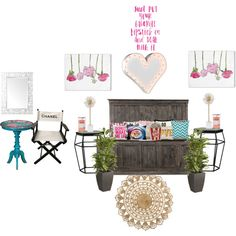 Girly room by kylee-watson on Polyvore featuring interior, interiors, interior design, home, home decor, interior decorating, Chanel, Vintage Marquee Lights, Kate Spade and H&M