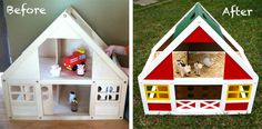 da casa delle bambole a fattoria ia-ia-o (ottimo per i maschietti) - Dollhouse to Barn Makeover