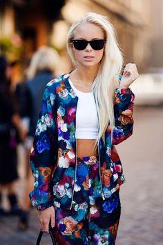 floral zip up suit