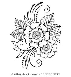 Mehndi flower pattern for henna drawing and tattoo. decoration in ethnic oriental, indian style Henna Hand Designs, Henna Tattoo Designs, Hand Embroidery Designs, Mehndi Designs, Embroidery Patterns, Henna Designs Drawing, Mehndi Drawing, Henna Drawings, Flower Pattern Drawing