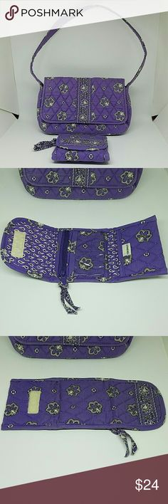 """Vera Bradley Handbag & Tri Fold Wallet Adorable Jilly Style Violet Bandana Retired Pattern Small Handbag & Tri Fold Wallet. Bag measures Approximately 9"""" W x 5 1/2"""" H x 2 1/2"""" D. 1 Interior Zip Compartment. Shoulder Drop is 9 1/2"""".  Wallet Measures Approximately 4 1/2"""" x 4 1/4"""" . When Opened it Measures 11 1/4"""" in Length.  Both are in Excellent Condition! Price Firm unless Bundled. Vera Bradley Bags"""