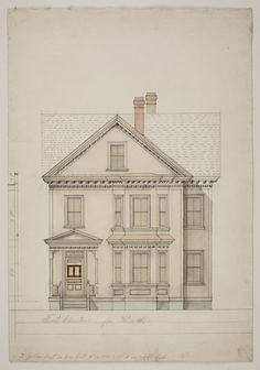 Front elevation of a two-and-a-half story dwelling for Weinaker, undated   Jacob Luippold architectural collection (AR016) -- Historic New England