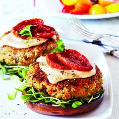 Quinoa veggie burger  Ingredients     1/2 cup uncooked quinoa (about 2 cups cooked)   1 tsp vegetable oil   1/2 227 g pkg cremini mushrooms, coarsely grated (1 cup)   1 cup coarsely grated zucchini   3/4 cup coarsely grated carrot   1 small shallot, minced   1 garlic clove, minced   1 egg, beaten   3 tbsp cornstarch   1/4 tsp salt   1/8 tsp cayenne pepper