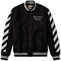 Off-White Letterman Jacket (€210) ❤ liked on Polyvore featuring outerwear, jackets, varsity style jacket, letterman jacket, stand collar jacket, print jacket and varsity jackets