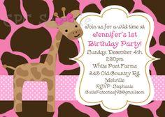 Pink Giraffe Birthday Invitation Giraffe Birthday Party Invite Printable Digital Girl or Boy. $15.00, via Etsy.