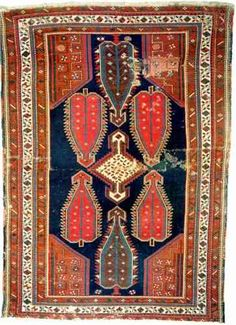 Typical tightly woven Shikli-Kazak with the most common design consisting in a central white and (normally) hexagonal stepped pointing medallion containing small geometrical motifs with at either end of the field three large cypress like serrated pointing palmettes containing a tree like motif ornament and four two-sided corner pieces. Types Of Carpet, Magic Carpet, Vintage Rugs, Bohemian Rug, Corner, Textiles, Ornaments, Antiques, Design