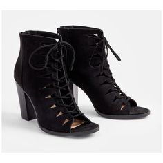 Justfab Booties Pemberley Bootie ($40) ❤ liked on Polyvore featuring shoes, boots, ankle booties, black, black high heel booties, lace up platform booties, lace up ankle boots, faux suede booties and black lace up boots