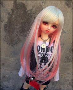 "7-8"" 1/4 BJD Dollfie MSD Doll Long Wig - gold+pink picclick.com"