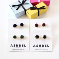Velvet Braided Stud Earrings with Metallic Thread and Beads