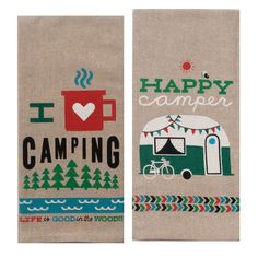Camper Kitchen Décor Bundle: 2 Kay Dee Camping Towels, 1 Primitives by Kathy Camping Rules Box Sign, 1 Beachcombers RV Camper Salt and Pepper Shaker Set Vintage Campers, Retro Campers, Vintage Travel Trailers, Rv Campers, Happy Campers, Gifts For Campers, Rv Gifts, Camping Gifts, Camping Items