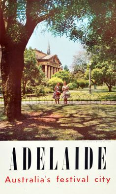 Vintage Adelaide travel poster featuring North Terrace and the Art Gallery of South Australia.