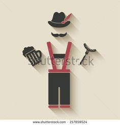 Oktoberfest man with beer mug and sausage - vector illustration. eps 10 - stock vector