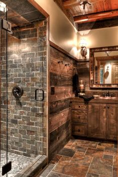 You would feel homey when you have a farmhouse small bathroom in your beloved house. All part of farmhouse bathroom decor ideas. These farmhouse small bathroom ideas will fit on your needs. Rustic Bathroom Designs, Rustic Bathroom Decor, Lodge Bathroom, Log Cabin Bathrooms, Log Cabin Kitchens, Rustic Master Bathroom, Shower Designs, Design Bathroom, Bath Design