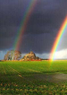 Double rainbow in Mont Saint-Michel