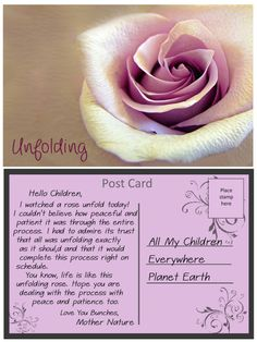 Inspirational message from Mother Nature about being patient. Inspirational Message, Mother Nature, Cards, Maps, Playing Cards, Nature, Mother Earth