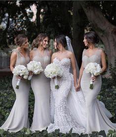 Modern Country Bridesmaid Dresses Sheer Tulle V-neck Mermaid #Bridesmaiddress