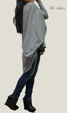 Gray Cotton Blouse / Oversized Blouse / Long Sleeved by FloAtelier