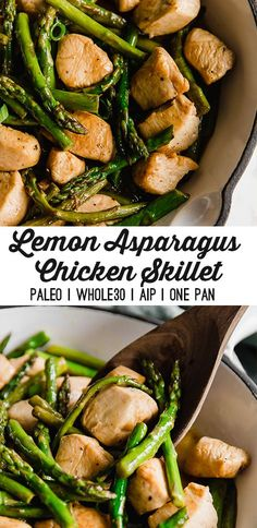 & Asparagus Chicken Skillet This lemon & asparagus chicken skillet is a simple one-pan meal to make on a weeknight or for meal prep. It's Paleo, AIP, and gluten-free.This lemon & asparagus chicken skillet is a simple one-pan meal to make on a week Paleo Menu, Paleo Meal Prep, Paleo Cookbook, Paleo Recipes, Whole Food Recipes, Paleo Food, Paleo Dinner, One Pan Meal Prep, Whole Foods