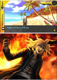 """I got my friend to play this game and she said she liked Nagito because he was one of the """"calmer"""" characters. I really want to tell her, but I want her to experience the hope for herself << Nagito is the best Danganronpa Funny, Super Danganronpa, Danganronpa Characters, Anime Meme, All Meme, Nagito Komaeda, Trigger Happy, Fanart, Fandoms"""