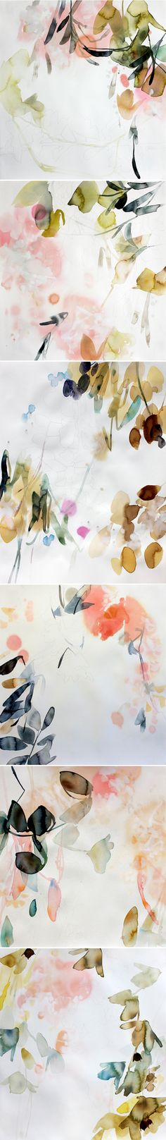 Drawing On Creativity elise morris - Dreamy. Watercolor, and faint traces of pencil drawings on paper. This is the elegant work of American artist Elise Morris. gorgeous colors, perfect compositions, and of course, botanicals … because Art Aquarelle, Art Watercolor, Watercolor Flowers, Art And Illustration, Illustrations, Magazin Design, Motif Floral, Botanical Art, Painting Inspiration