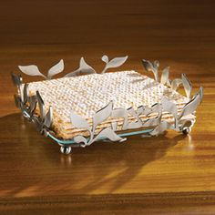 Laser Cut Stainless Steel Floral Matzah Tray