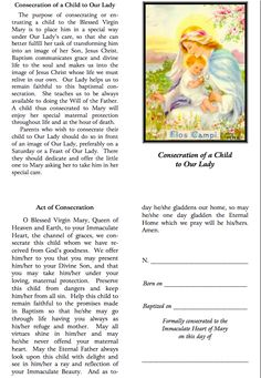 Consecration to Mary for Catholic children