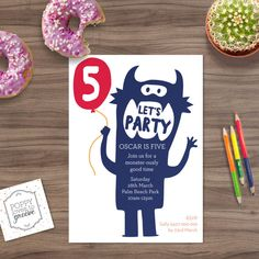 Birthday Invitation  Monster Party by poppylovestogroove on Etsy