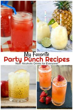My Favorite Party Punch Recipes are perfect for birthday parties, holidays and gatherings with family and friends. These non-alcoholic party punch recipes will be loved by both kids and adults and are made with just a few simple ingredients! Alcoholic Punch Recipes, Easy Punch Recipes, Alcohol Recipes, Non Alcoholic Drinks, Mix Drinks, Shake Recipes, Milk Recipes, Egg Recipes, Copycat Recipes