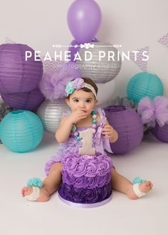purple and teal cake smash birthday girl first birthday