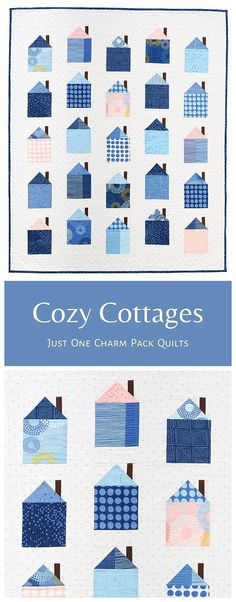 Cozy Cottages from the book, Just One Charm Pack Quilts, is a fun and cute, charm pack friendly quilt. Each quilt in the book requires just a single charm pack and two additional fabrics. . #meadowmistdesigns #cozycottages #cozycottagesquilt #housequilt #babyquilt #girlquilt #boyquilt #cutequilt #beginnerquilt #charmpack Cute Quilts, Boy Quilts, Girls Quilts, House Quilt Patterns, Modern Quilt Patterns, Quilting Projects, Quilting Designs, Charm Square Quilt, Modern Quilt Blocks