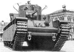 First prototype of T-35 heavy tank on parade, Moscow, Russia, 1 May 1934, photo 1 of 2