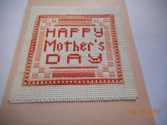 cross stitch Mother's Day card available in etsy shop DebbyWebbysCards