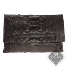 FERI MOSH Exotic - Patrizia - Hand Bag Envelope Clutch, Zipper Pouch, Python, Suede Leather, Exotic, Outdoor Blanket, Closure, Italy, Shoe