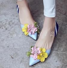 Womens pointed toe floral shoes sti...