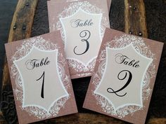 Table numbers. Wedding table numbers. Party table numbers. Rustic. Western. Lace and burlap table numbers. Set of 10 cards, one on Etsy, $25.00
