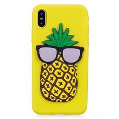 Para iPhone X iPhone 8 Case Tampa Estampada Faça Você Mesmo Capa Traseira Capinha Desenhos 3D Fruta Macia PUT para Apple iPhone X iPhone