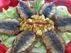 Sardine au four avec des pommes de terre frits