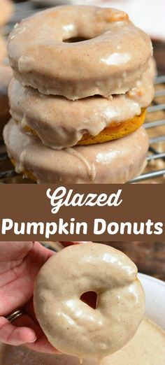 Soft baked pumpkin donuts dipped in a sweet, cinnamon glaze. These donuts will take you only about 30 minutes to prepare and brighten up every morning. Pumpkin Spice Muffins, Baked Pumpkin, Pumpkin Recipes, Pumpkin Donuts Recipe Baked, Pumkin Donuts, Coffe Recipes, Easy Donut Recipe, Baked Donuts, Fall Dessert Recipes