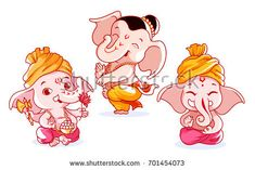 Set of cute characters. A little baby Ganesha with different emotions. Vector cartoon illustration on a white background. Arte Ganesha, Ganesha Sketch, Ganesha Drawing, Ganesha Painting, Ganesh Idol, Baby Cartoon, Cartoon Pics, Cute Cartoon, Cartoon Art