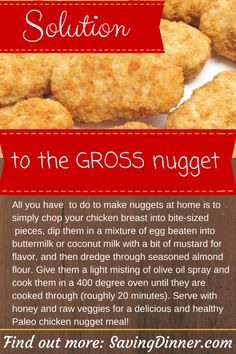 For my picky eater...Healthy Chicken Nuggets. processed foods, healthy kid favorites, kid foods, Paleo kid foods,