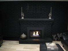 black painted brick fireplaces