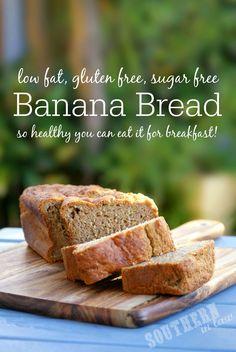 Healthy Banana Bread Recipe - low fat, gluten free, sugar free, healthy, clean eating friendly, breakfast banana bread