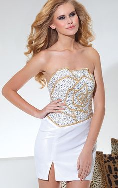 Chic Strapless Taffeta Beaded Ivory Sheath #Dresses